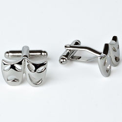 Rhodium Plated Comedy and Tragedy Cuff Links