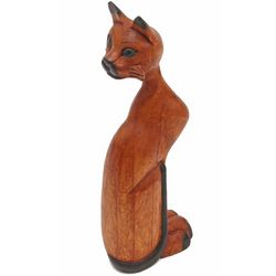Carved Cat Wood Figurine