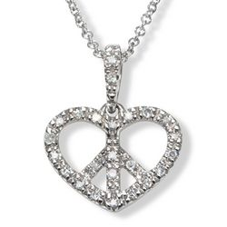 Diamond Heart Peace Sign Pendant and Necklace in 14k White Gold