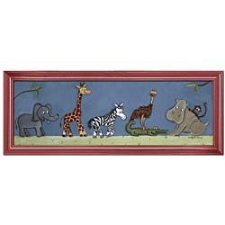 Safari Parade Framed Canvas Wall Art