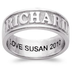 "Sculpted Platinum Plated Sterling ""Framed"" Engraved Name Band"