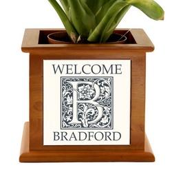 Monogram Welcome Wooden Planter