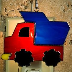 Dump Truck Stained Glass Ornament