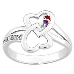 Sterling Silver Couple's Hearts Birthstone Ring