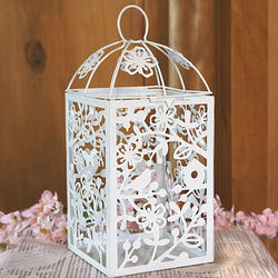 Birds and Flowers Metal Table Lantern