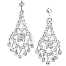 14k White Gold Diamond Chandelier Earrings