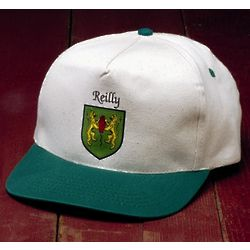 Personalized Irish Coat of Arms Kelly Green and Natural Cap