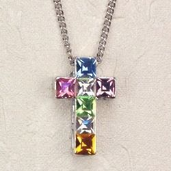 Multi Color Rhinestone Cross on Rhodium Chain