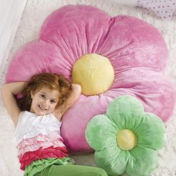 Large Plush Pink Flower Pillow