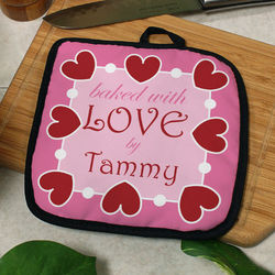 Personalized Baked with Love Pot Holder