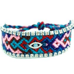 America Against Evil Eye Knitted Bracelet with Czech Crystals