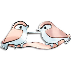Love Birds Two Tone Pin