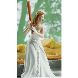 Bride at Bat Ready to Hit the Home Run Wedding Cake Topper