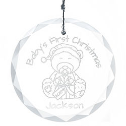 Baby's First Christmas Personalized Round Faceted Glass Ornament