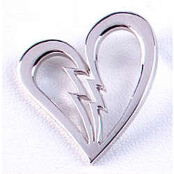 Sterling Silver Broken Heart Lapel Pin