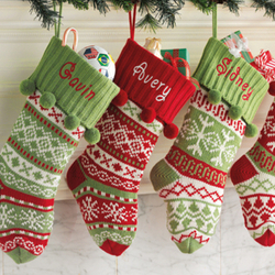 Personalized Knit Argyle Snowflake Stocking