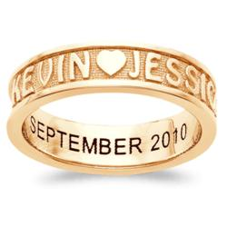 Sculpted 18K Gold Over Sterling Couples Name Engraved Band