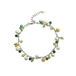 Sterling Silver Peridot Stones and White Pearls Anklet