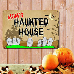 Personalized Haunted House Halloween Metal Wall Sign