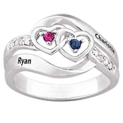 Couple's Name and Birthstone Hearts Ring
