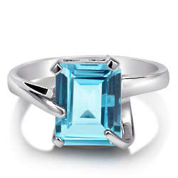 Sterling Silver Natural Blue Topaz Solitaire Ring