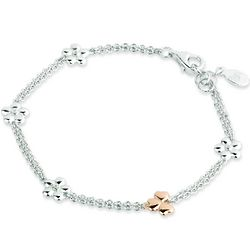 Sterling Silver Irish Shamrock and Primrose Bracelet