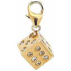 14K Gold and Diamond Dice Charm