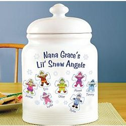 Personalized Snow Angels Cookie Jar