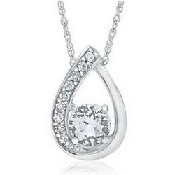 Lab-Created White Sapphire Sterling Silver Pendant