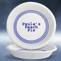 Personalized Gingham Pattern Pie Plate