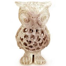 Lattice Owl Soapstone Sculpture