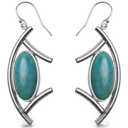 Contemporary Native American Oval Turquoise Dangle Earrings