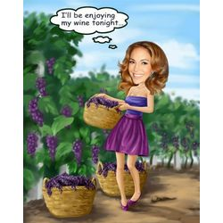 In the Vineyard Caricature Art Print
