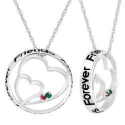Sterling Silver Always Sisters Circle Heart 2 Birthstone Pendant