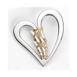 Mended Broken Heart Lapel Pin in Sterling Silver