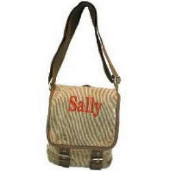 Monogrammed Corduroy Messenger Bag