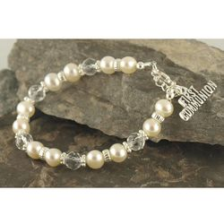 First Communion Swarovski Pearls and Crystals Bracelet