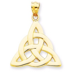 Irish Trinity Knot Pendant in 14k Yellow or White Gold