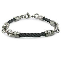 "Men's 4mm Black Titanium ""Rosenberg"" Cable Bracelet"