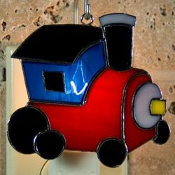 Train Stained Glass Switchable Ornament