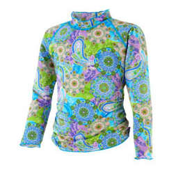 Girl's Long Sleeve Ruche Swim Shirt UPF 50+