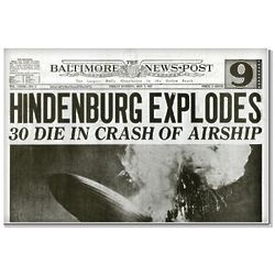 Hindenburg Crash Historic Newspaper Reprint