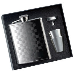 2 Tone Checker Flask with 2 Shot Glasses