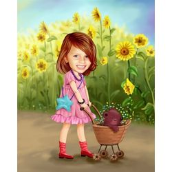 Sunflower Friends Caricature Art Print