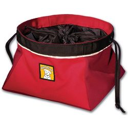 Medium Cinch Top Portable Red Dog Bowl