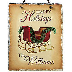Happy Holidays Slate Plaque