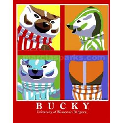 University of Wisconsin Bucky Pop Art Print