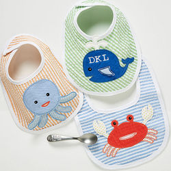 Beach Buddies Embroidered Bib Set
