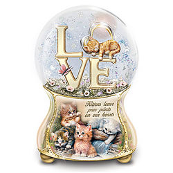 Kittens Leave Pawprints On Our Hearts Musical Glitter Globe