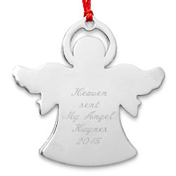 Personalized Metal Angel Christmas Ornament